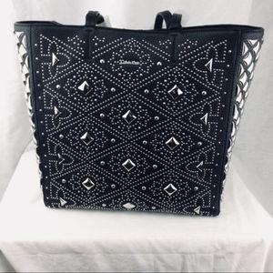 NWT Calvin Klien Black Leather Silver stud bag